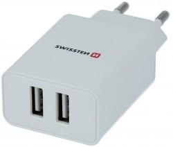 Swissten Travel Smart Ic 2x USB 2.1A + kabel USB - microUSB 1.2m biały