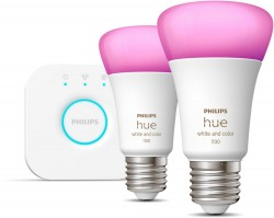 Philips Hue mostek + 2x E27 9W (zamiennik 75W) RGBW