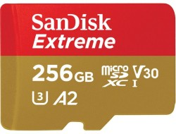 SanDisk microSDXC Extreme 256GB 160/90 MB/s A2 C10 V30 UHS-I U3