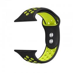 Crong Duo Sport - pasek do Apple Watch 42/44mm czarny/limonkowy