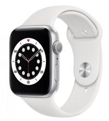 Apple Watch 6 GPS 44mm aluminium, srebrny   biały pasek sportowy