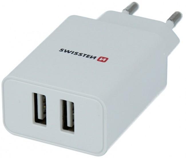 Swissten Travel Smart Ic 2x USB 2.1A + kabel USB - microUSB 1.2m biały - zdjęcie główne