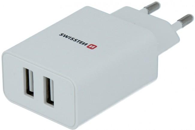 Swissten Travel Smart Ic 2x USB 2.1A + kabel USB - lightning 1.2m biały - zdjęcie główne