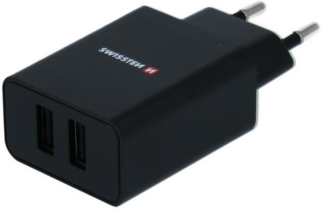 Swissten Travel Smart Ic 2x USB 2.1A + kabel USB - lightning 1.2m czarny - zdjęcie główne