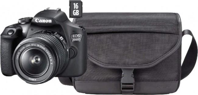 Canon EOS 2000D + obiektyw EF-S 18-55mm IS II + torba CB-SB130 + karta SD 16GB - zdjęcie główne