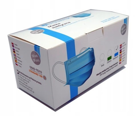 Polmask maseczka medyczna jednorazowego użytku 3-warstwowa z filtrem niebieska 50 szt. - zdjęcie główne