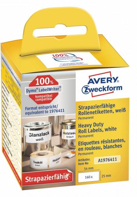 Avery Zweckform Etykiety Heavy Duty w rolce do drukarek termicznych DymoTM 160 etyk./rolka 1 rolka/op. 25 x 54 mm poliestrowe trwał, białe - zdjęcie główne