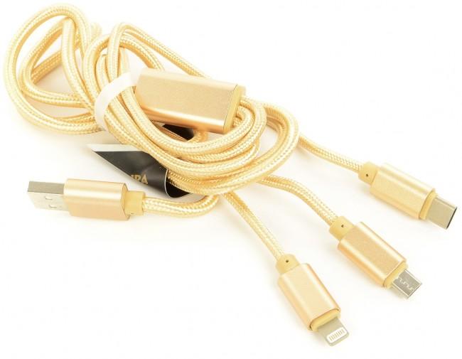 Accura 3 w 1 Lightning / USB-C / micro USB 1.2m złoty - zdjęcie główne
