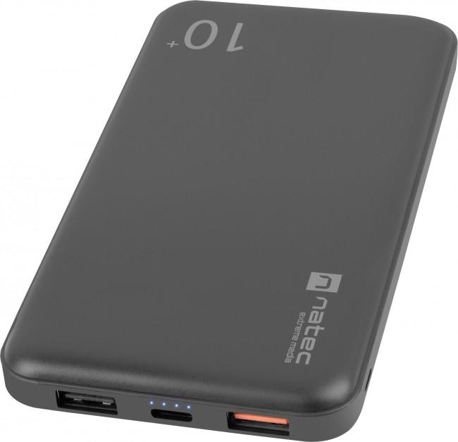 Natec Power Bank Extreme Media Trevi Pro 10000 mAh 2X USB-A + 1X USB-C 18W Quick Charge 3.0 czarny - zdjęcie główne