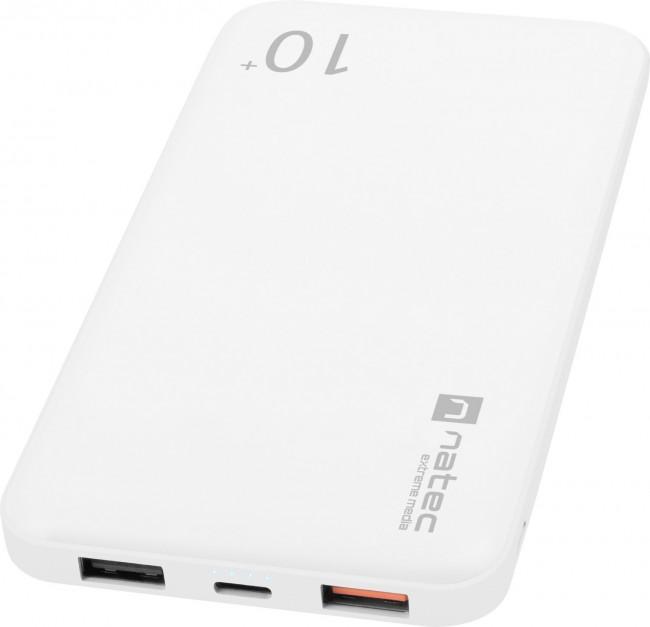 Natec Power Bank Extreme Media Trevi Pro 10000 mAh 2X USB-A + 1X USB-C 18W Quick Charge 3.0 biały - zdjęcie główne