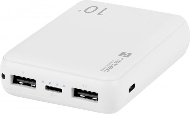 Natec Power Bank Extreme Media Trevi Compact 10000 mAh 2X USB-A + 1X USB-C bialy - zdjęcie główne