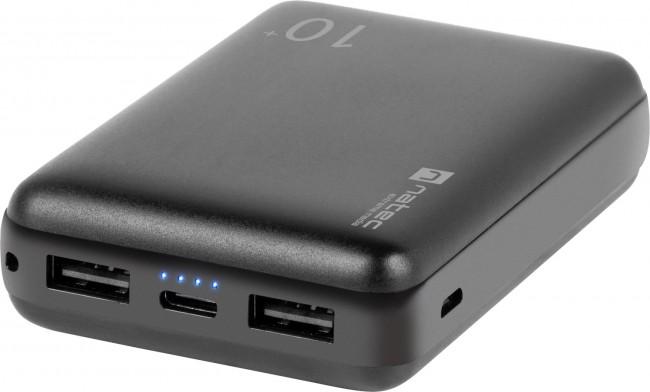 Natec Power Bank Extreme Media Trevi Compact 10000 mAh 2X USB-A + 1X USB-C czarny - zdjęcie główne