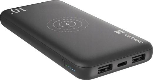 Natec Power Bank Extreme Media Trevi Wireless 10000 mAh 10W czarny - zdjęcie główne
