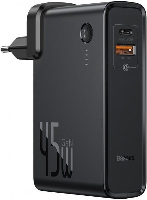 Baseus ładowarka GaN + powerbank 10000mAh 2w1 Power Station USB + USB-C QC 3.0 PPS PD 3.0 5A 45W czarny - zdjęcie główne