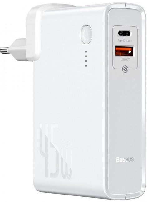 Baseus ładowarka GaN + powerbank 10000mAh 2w1 Power Station USB + USB-C QC 3.0 PPS PD 3.0 5A 45W biały - zdjęcie główne