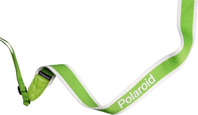 POLAROID CAMERA STRAP FLAT GREEN STRIPE - zdjęcie główne