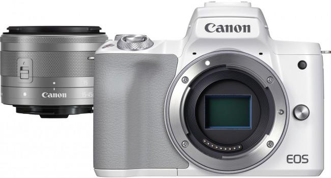 Canon EOS M50 Mark II Biały + M15-45mm - zdjęcie główne