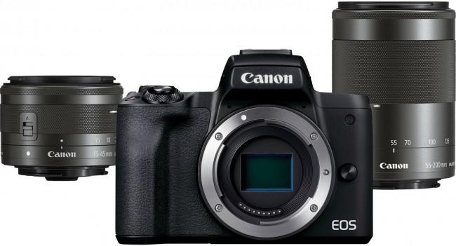 Canon EOS M50 Mark II czarny + obiektywy EF-M 15-45mm IS STM + EF-M 55-200mm IS STM - zdjęcie główne