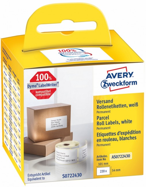 Avery Zweckform Etykiety wysyłkowe w rolce do drukarek termicznych DymoTM 220 etyk./rolka 1 rolka/op. 54 x 101 mm trwałe białe - zdjęcie główne