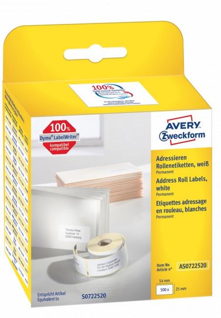 Avery Zweckform Etykiety adresowe w rolce do drukarek termicznych DymoTM 500 etyk./rolka 1 rolka/op. 25 x 54 mm trwałe białe - zdjęcie główne