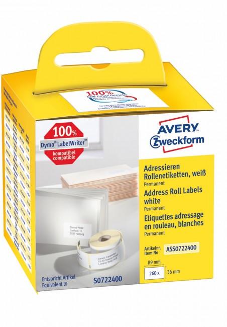 Avery Zweckform Etykiety adresowe w rolce do drukarek termicznych DymoTM 260 etyk./rolka 1 rolka/op. 36 x 89 mm trwałe białe - zdjęcie główne