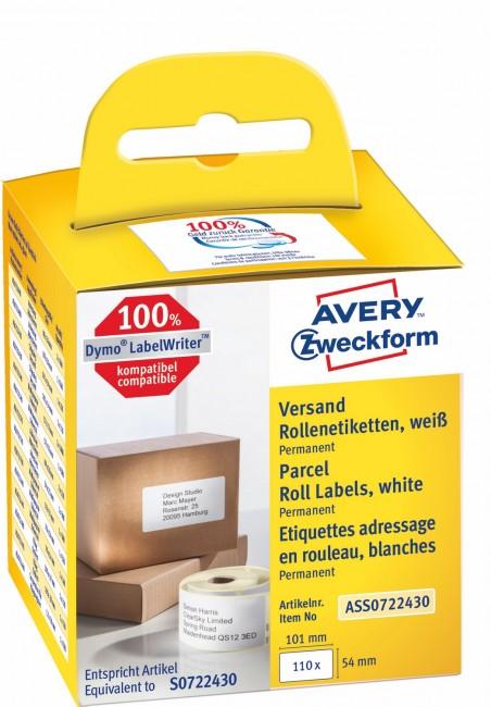 Avery Zweckform Etykiety wysyłkowe w rolce do drukarek termicznych DymoTM 110 etyk./rolka 1 rolka/op. 54 x 101 mm trwałe białe - zdjęcie główne