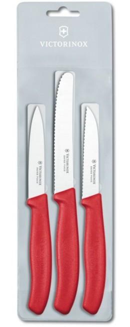 Victorinox zestaw 3 noży do jarzyn czerwone - zdjęcie główne