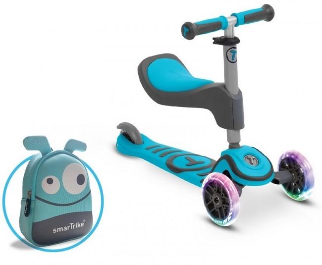 Smart Trike Scooter T1 + świecące koła LED + torba-niebieska - zdjęcie główne