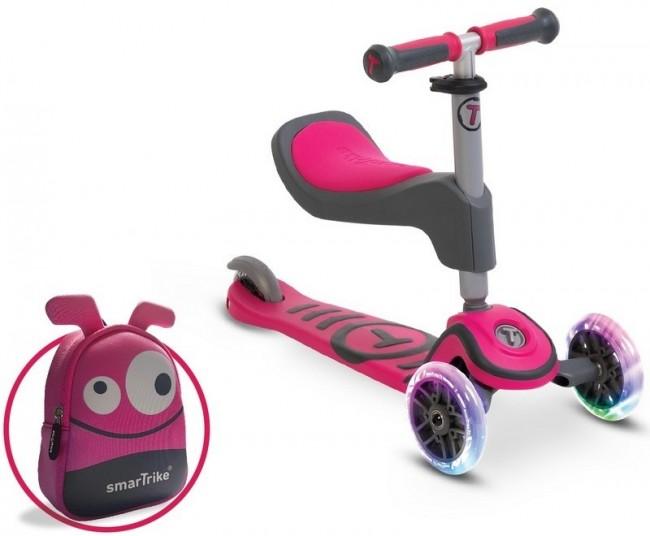 Smart Trike Scooter T1 + świecące koła LED + torba różowa - zdjęcie główne