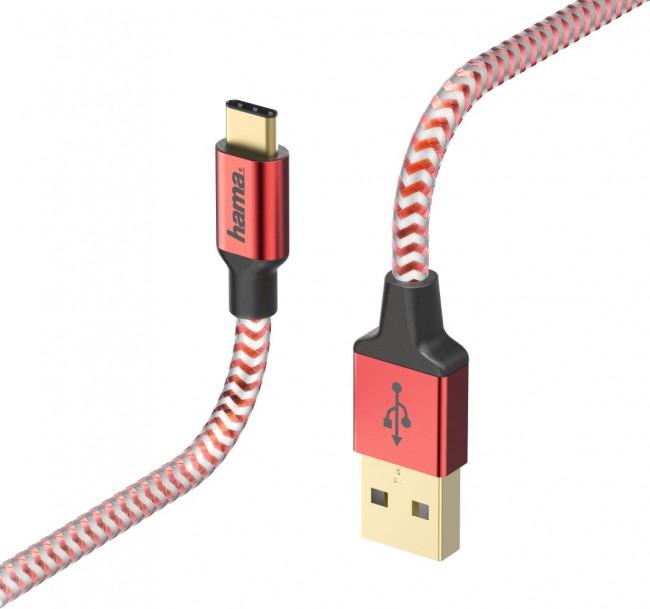 Hama USB-C Reflected 1.5m czerwony - zdjęcie główne