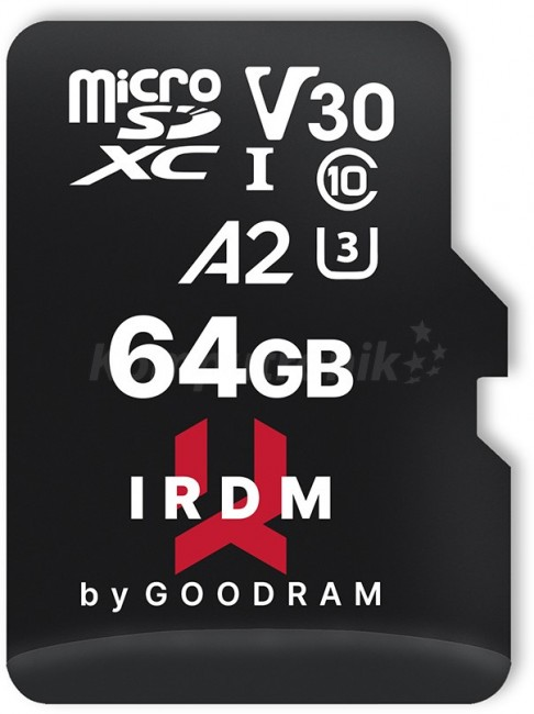 GOODRAM micro SDXC IRDM 64GB V30 A2 (UHS I U3) + adapter - zdjęcie główne