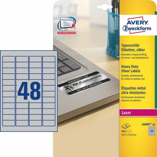Avery Zweckform znamionowe A4 45,7 x 21,2 mm srebrne - zdjęcie główne