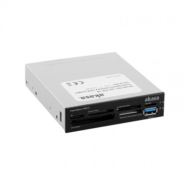 """Akasa AK-ICR-14 USB 3.0 6-portowy czytnik kart pamięci 3,5"""" - czarny/biały - zdjęcie główne"""