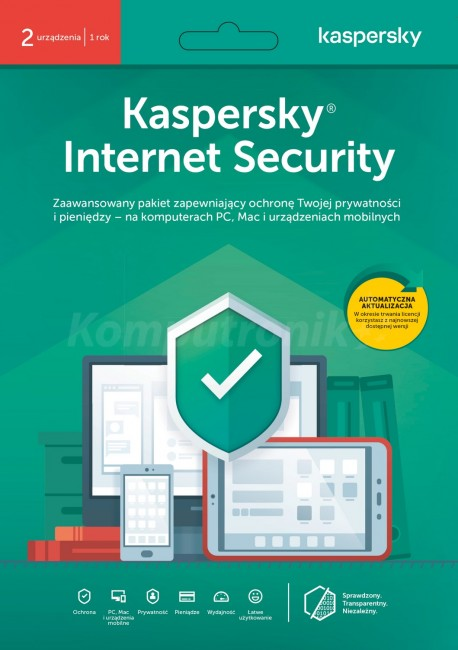Kaspersky Internet Security multi-device BOX 2 - Desktop - licencja na rok - promocja przy zakupie z komputerem lub notebookiem - zdjęcie główne
