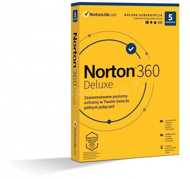 Norton 360 Deluxe BOX PL 5 - device - licencja na rok - zdjęcie główne