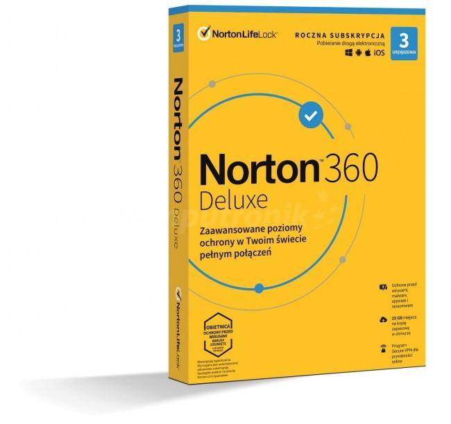 Norton 360 Deluxe BOX PL 3 - device - licencja na rok - zdjęcie główne