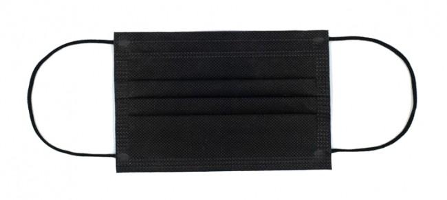 Polmask maseczka medyczna jednorazowego użytku 3-warstwowa z filtrem czarna 50 szt. - zdjęcie główne