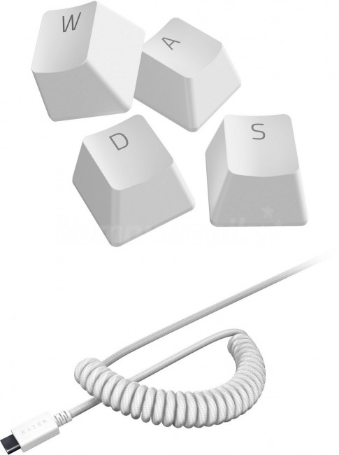 Razer PBT Keycap + Coiled Cable Upgrade Set Mercury White - zdjęcie główne