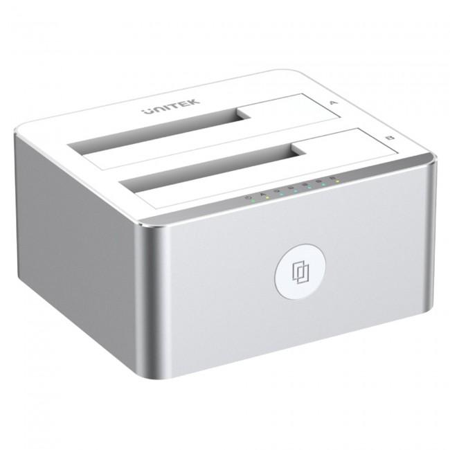Unitek DUAL HDD USB 3.1 srebrna - zdjęcie główne