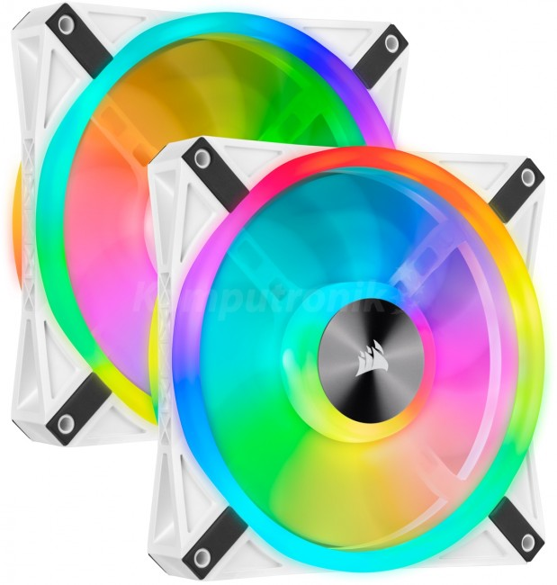 Corsair iCUE QL140 RGB 140mm PWM White Fan Dual Fan Kit with Lighting Node CORE CO-9050106-WW - zdjęcie główne