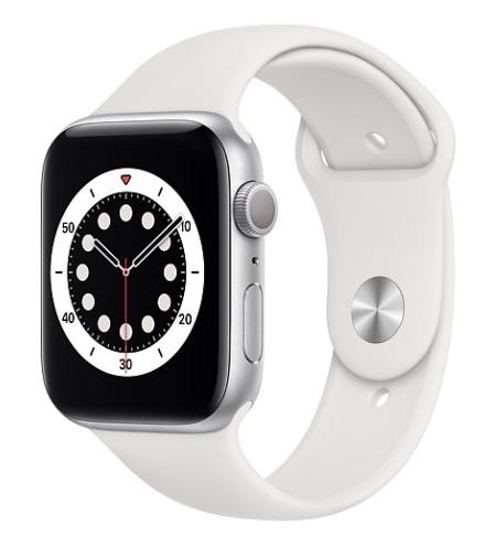 Apple Watch 6 GPS 44mm aluminium, srebrny   biały pasek sportowy - zdjęcie główne