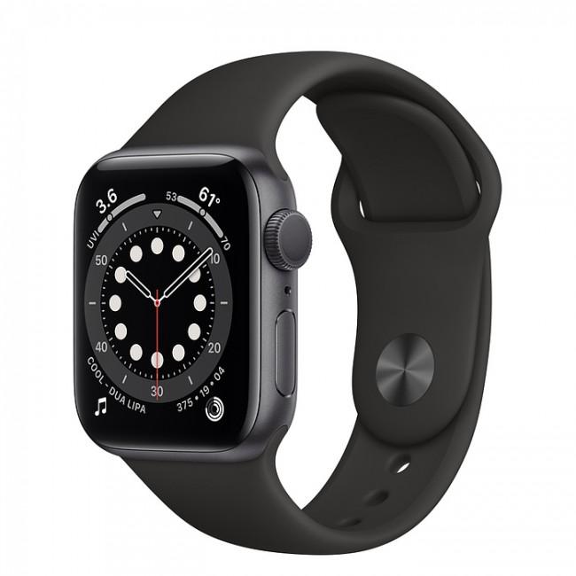 Apple Watch 6 GPS 44mm aluminium, gwiezdna szarość   czarny pasek sportowy - zdjęcie główne