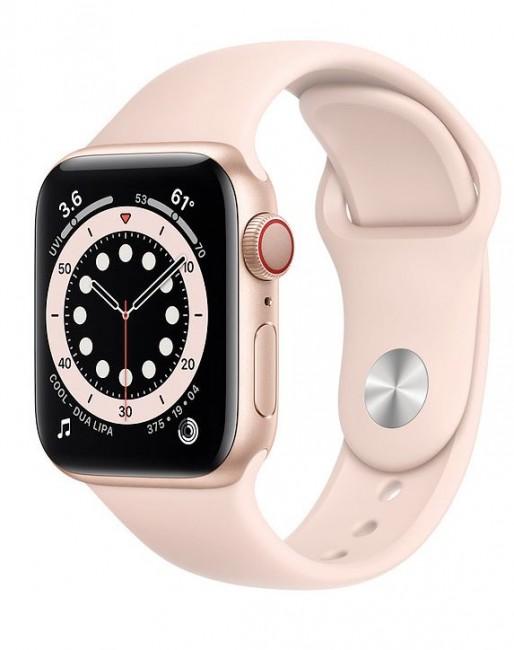 Apple Watch 6 GPS+Cellular 40mm aluminium, złoty | piaskowy róż pasek sportowy - zdjęcie główne