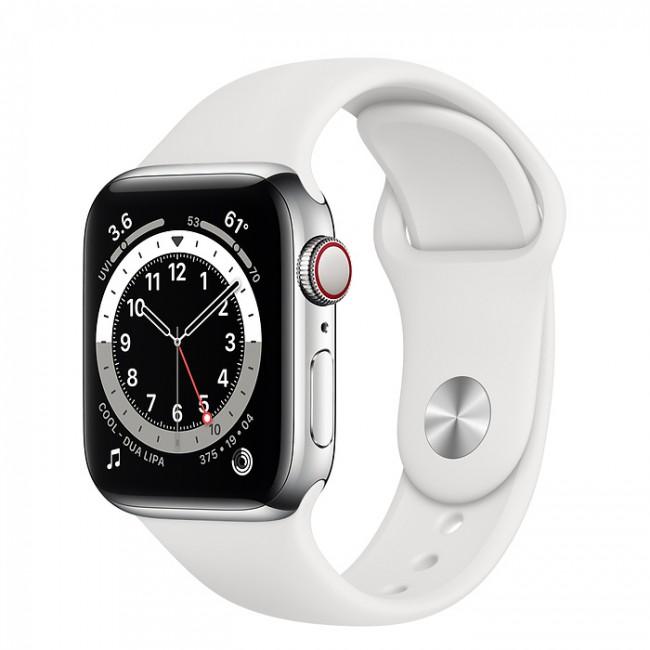 Apple Watch 6 GPS+Cellular 40mm stalowy, srebrny | biały pasek sportowy - zdjęcie główne