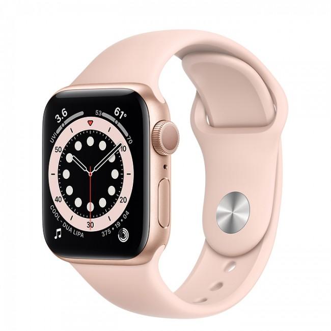 Apple Watch 6 GPS 40mm aluminium, złoty | piaskowy róż pasek sportowy - zdjęcie główne