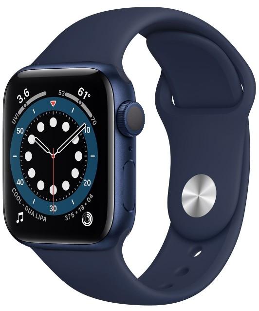 Apple Watch 6 GPS 40mm aluminium, niebieski | głęboki granat pasek sportowy - zdjęcie główne