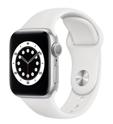 Apple Watch 6 GPS 40mm aluminium, srebrny   biały pasek sportowy - zdjęcie główne