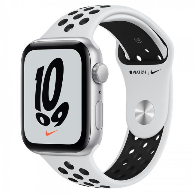 Apple Watch Nike SE GPS 40mm aluminium, srebrny | platyna czarny pasek sportowy - zdjęcie główne