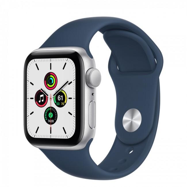 Apple Watch SE GPS 44mm aluminium, srebrny   błękitna toń pasek sportowy - zdjęcie główne
