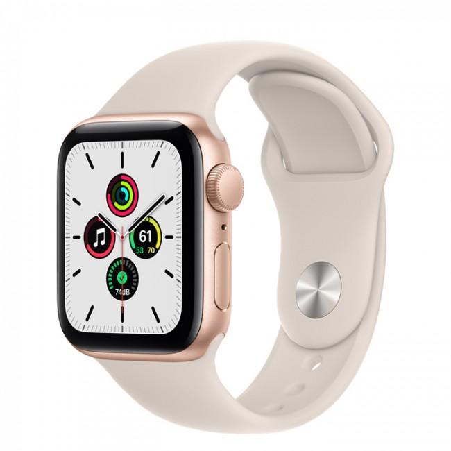 Apple Watch SE GPS 44mm aluminium, złoty | księżycowa poświata pasek sportowy - zdjęcie główne